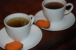 tea and halloween cookies